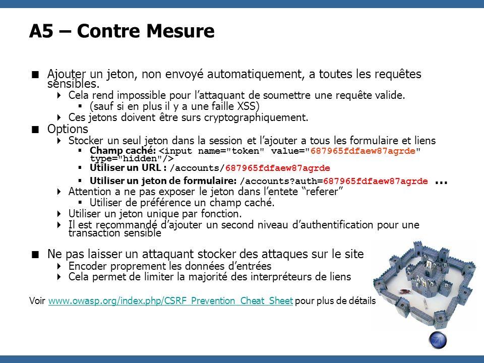 A5 – Contre Mesure Ajouter un jeton, non envoyé automatiquement, a toutes les requêtes sensibles.