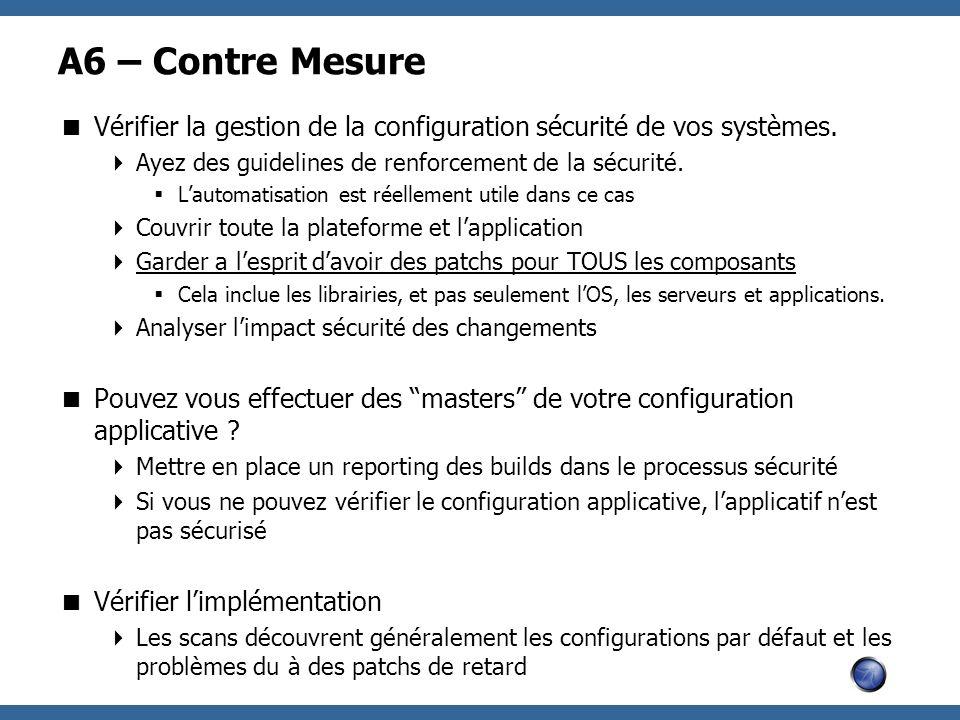 A6 – Contre Mesure Vérifier la gestion de la configuration sécurité de vos systèmes. Ayez des guidelines de renforcement de la sécurité.