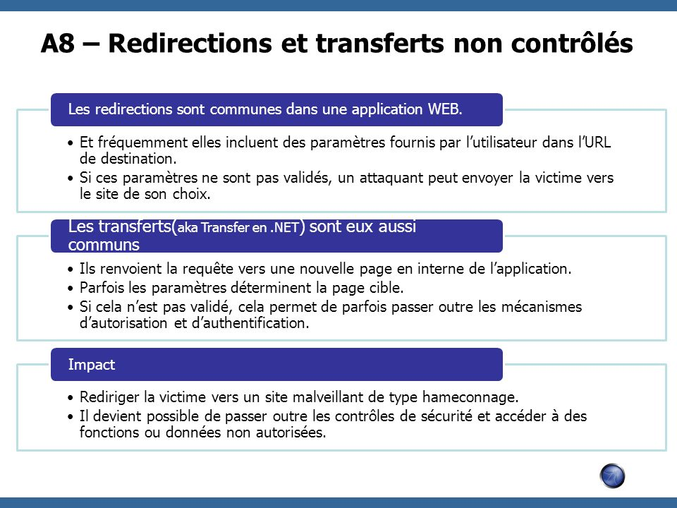 A8 – Redirections et transferts non contrôlés
