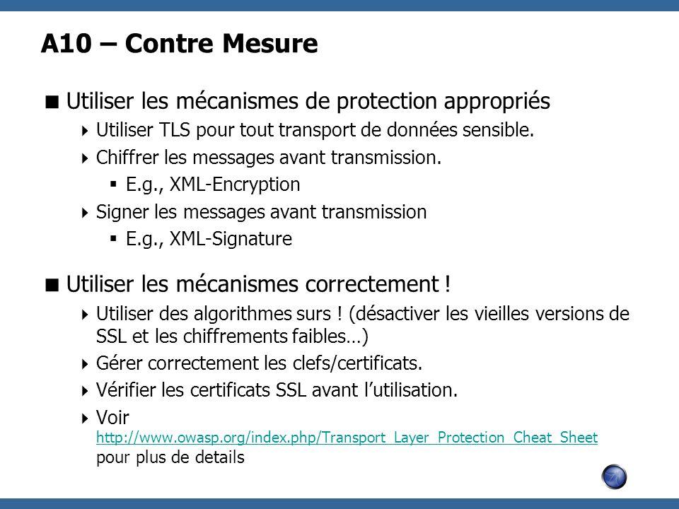 A10 – Contre Mesure Utiliser les mécanismes de protection appropriés