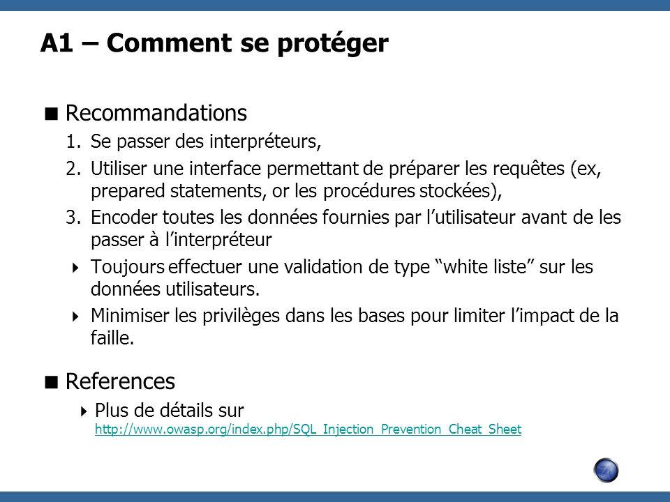 A1 – Comment se protéger Recommandations References