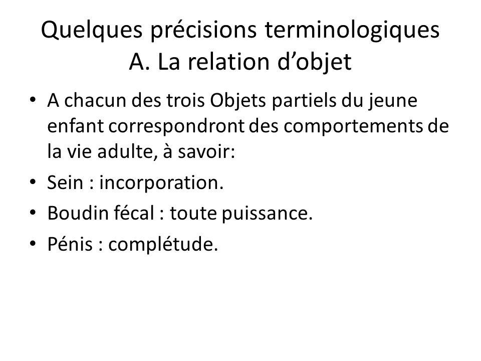 Quelques précisions terminologiques A. La relation d'objet