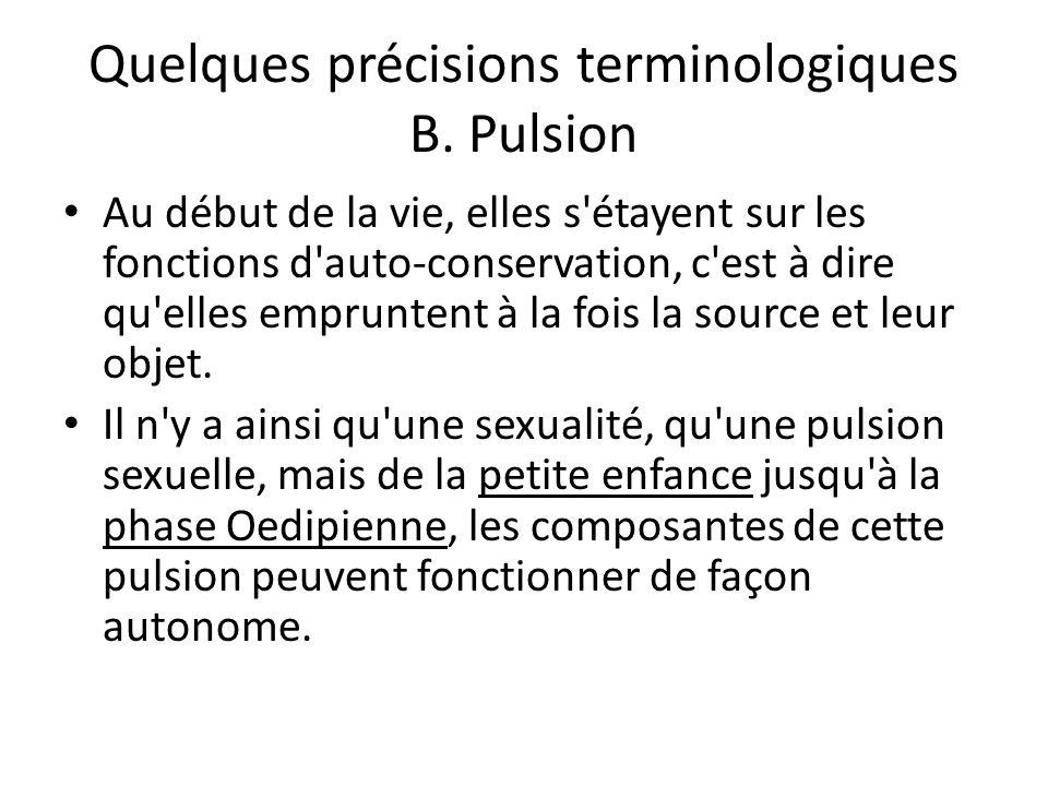 Quelques précisions terminologiques B. Pulsion