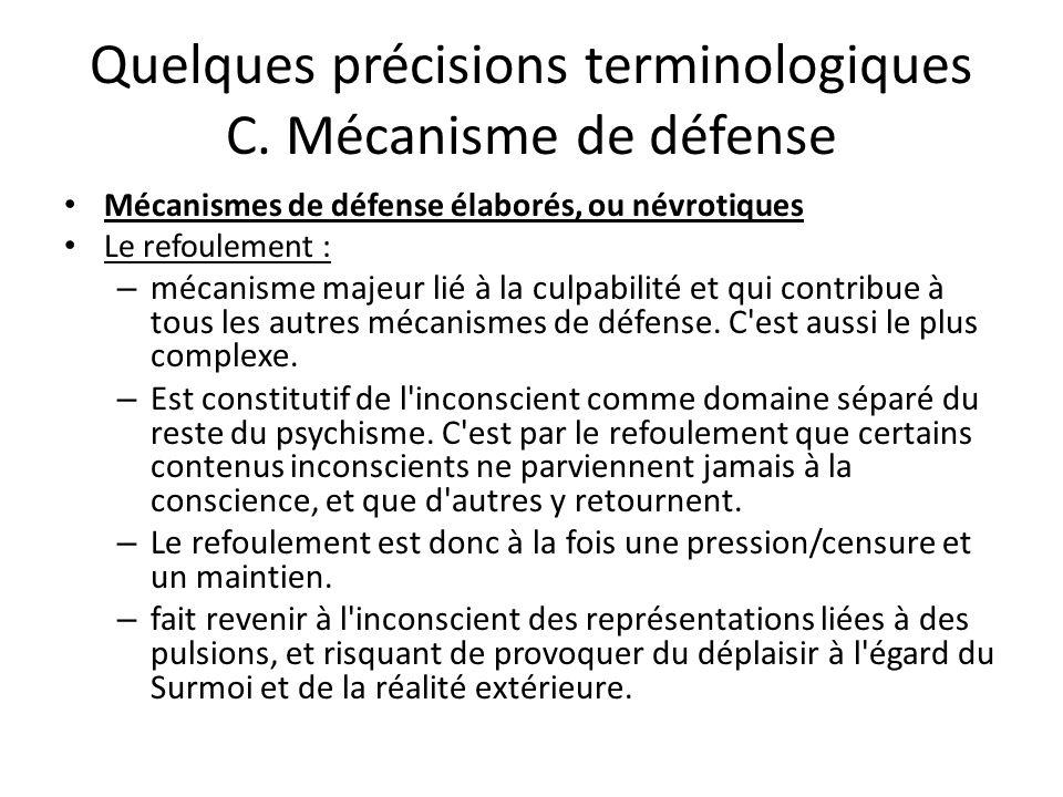 Quelques précisions terminologiques C. Mécanisme de défense