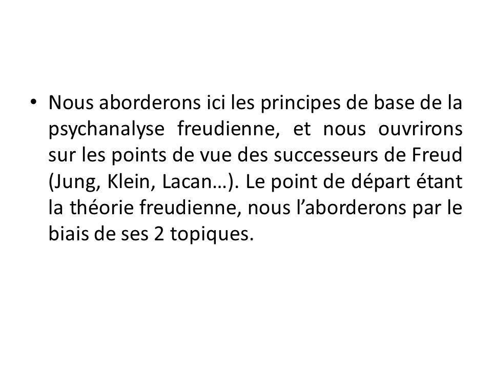 Nous aborderons ici les principes de base de la psychanalyse freudienne, et nous ouvrirons sur les points de vue des successeurs de Freud (Jung, Klein, Lacan…).