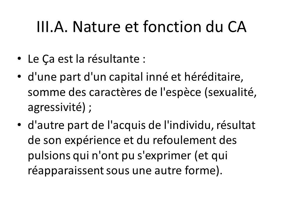III.A. Nature et fonction du CA