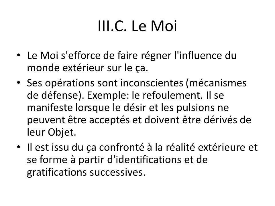 III.C. Le Moi Le Moi s efforce de faire régner l influence du monde extérieur sur le ça.