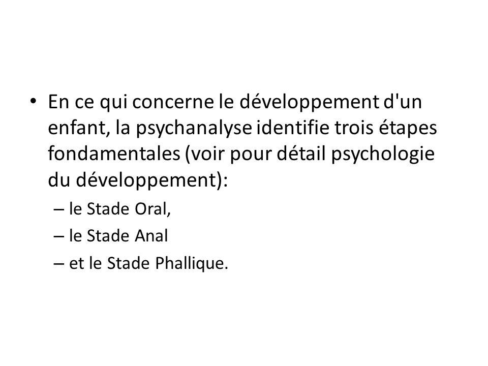 En ce qui concerne le développement d un enfant, la psychanalyse identifie trois étapes fondamentales (voir pour détail psychologie du développement):