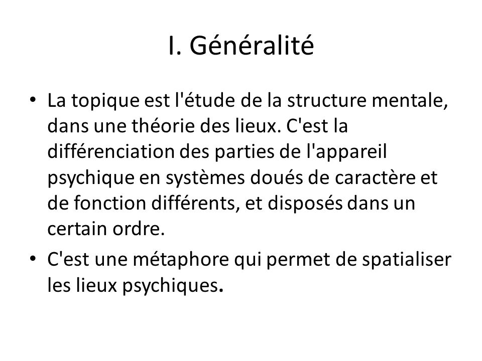 I. Généralité