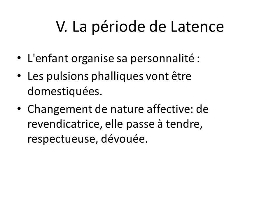 V. La période de Latence L enfant organise sa personnalité :