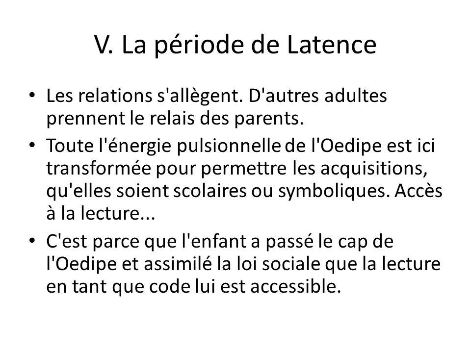 V. La période de Latence Les relations s allègent. D autres adultes prennent le relais des parents.