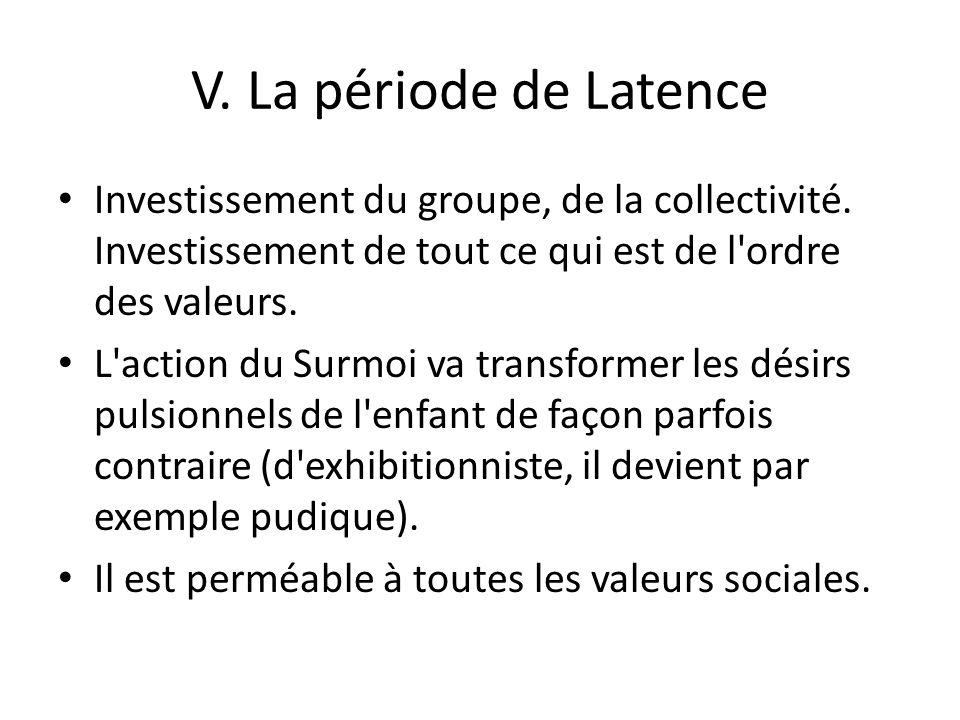 V. La période de Latence Investissement du groupe, de la collectivité. Investissement de tout ce qui est de l ordre des valeurs.