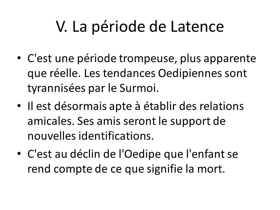 V. La période de Latence C est une période trompeuse, plus apparente que réelle. Les tendances Oedipiennes sont tyrannisées par le Surmoi.