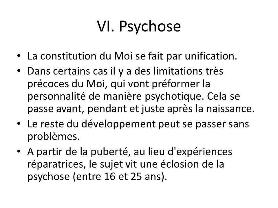 VI. Psychose La constitution du Moi se fait par unification.