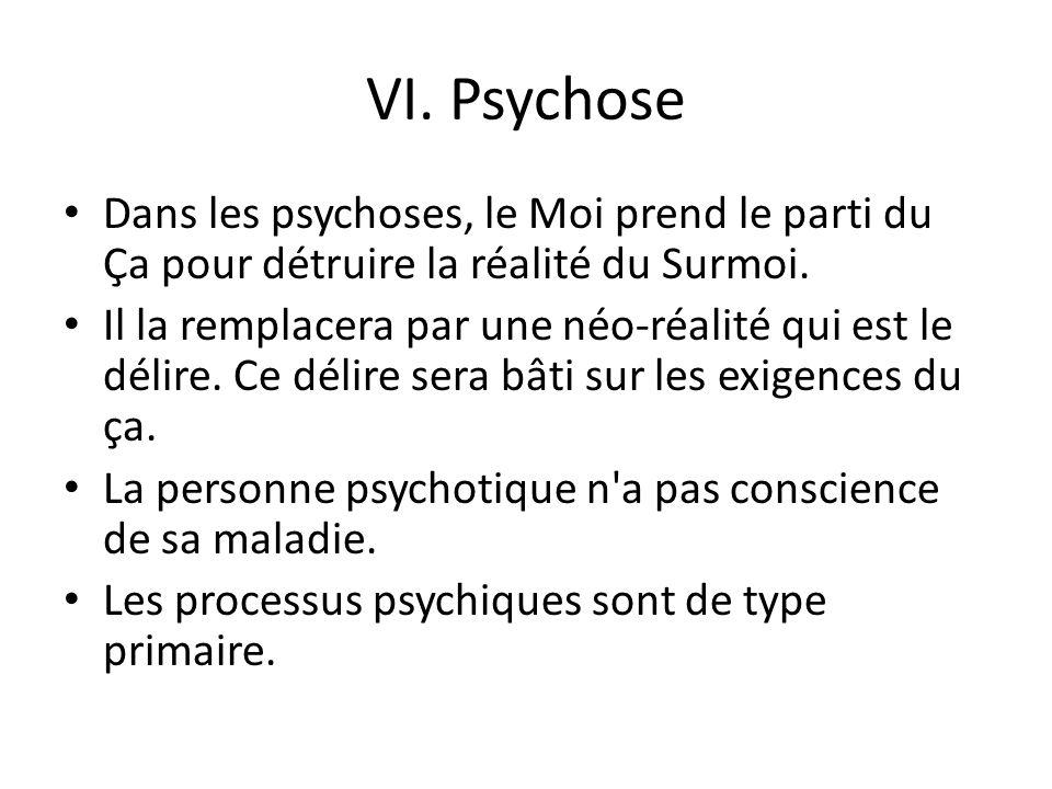 VI. Psychose Dans les psychoses, le Moi prend le parti du ça pour détruire la réalité du Surmoi.