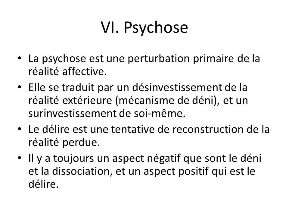 VI. Psychose La psychose est une perturbation primaire de la réalité affective.