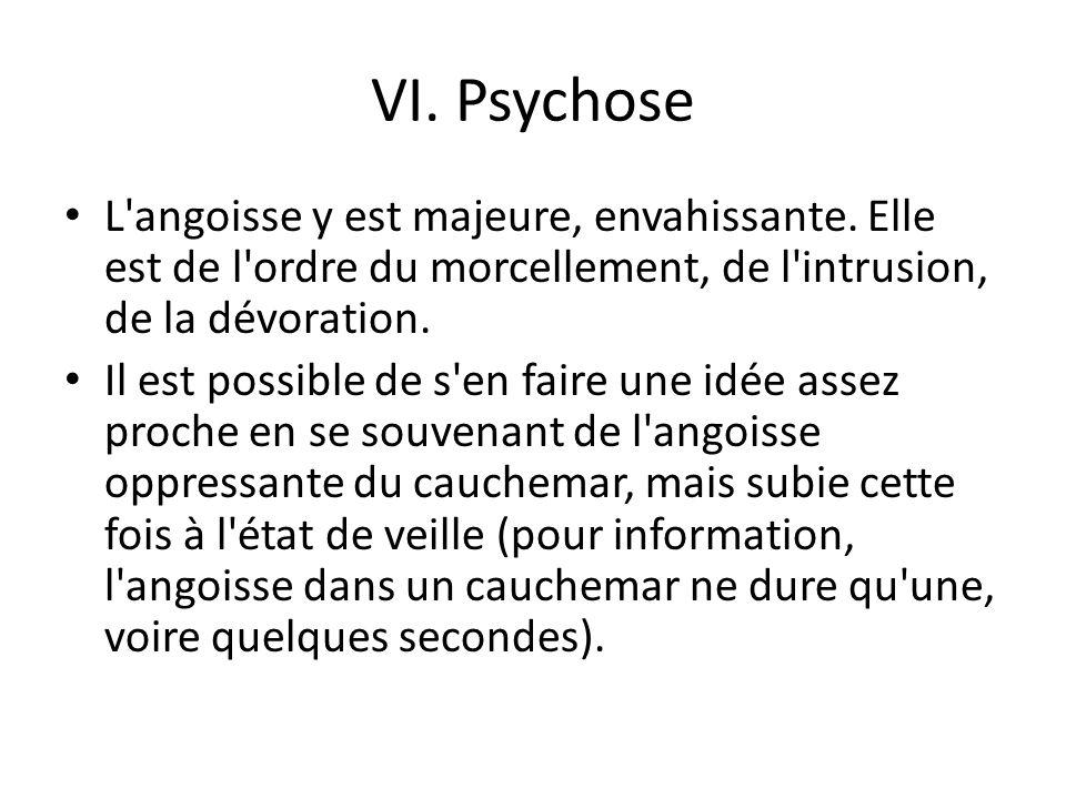 VI. Psychose L angoisse y est majeure, envahissante. Elle est de l ordre du morcellement, de l intrusion, de la dévoration.