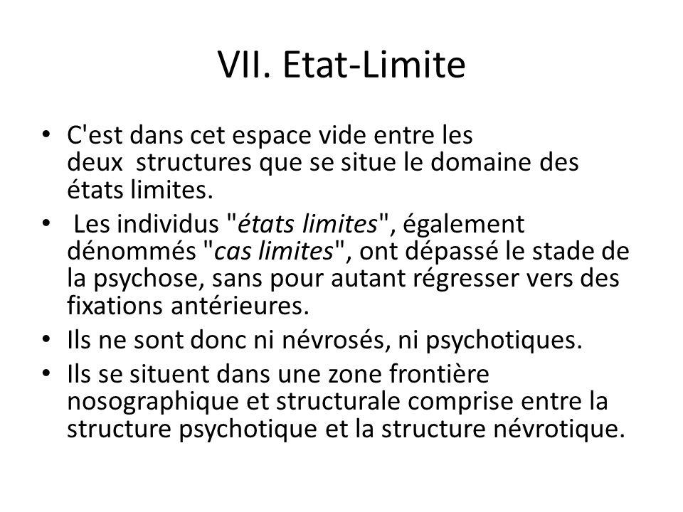 VII. Etat-Limite C est dans cet espace vide entre les deux structures que se situe le domaine des états limites.