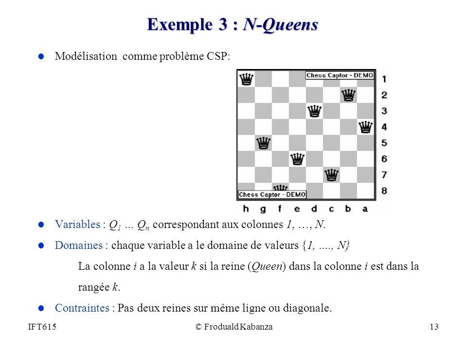 Exemple 3 : N-Queens Modélisation comme problème CSP: