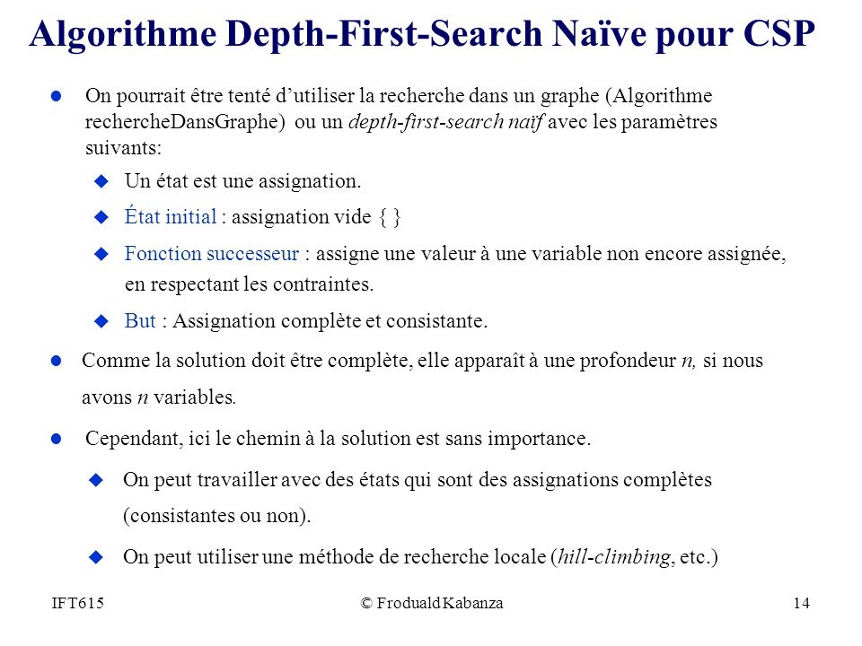 Algorithme Depth-First-Search Naïve pour CSP