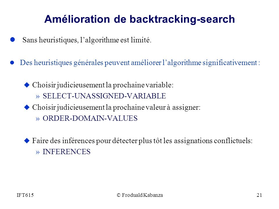 Amélioration de backtracking-search