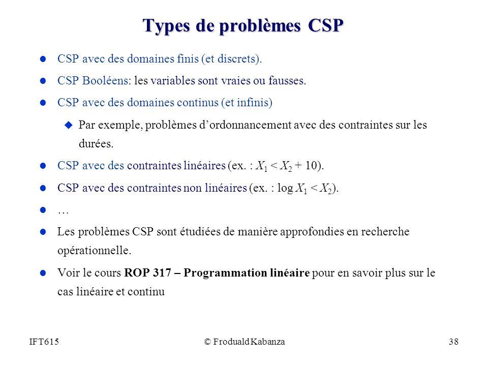Types de problèmes CSP CSP avec des domaines finis (et discrets).