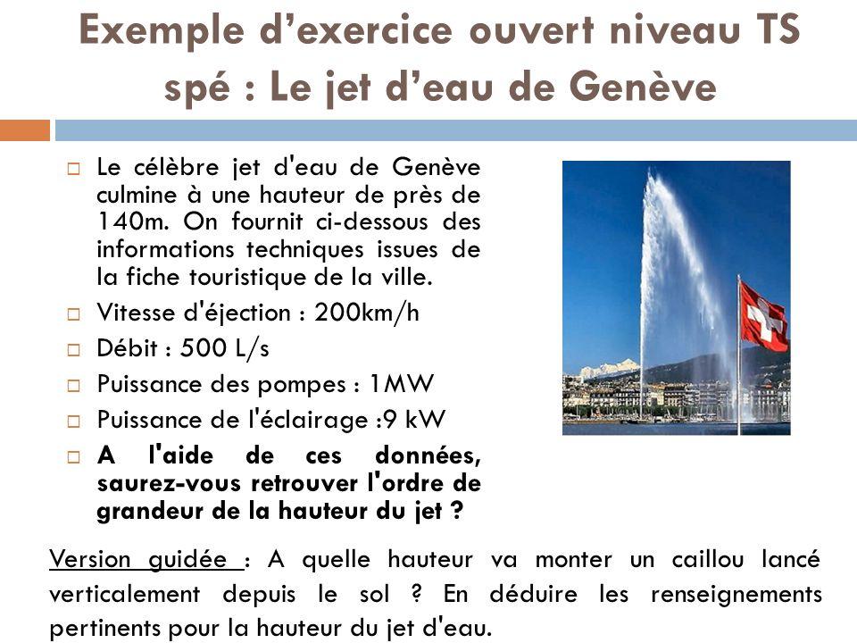 Exemple d'exercice ouvert niveau TS spé : Le jet d'eau de Genève