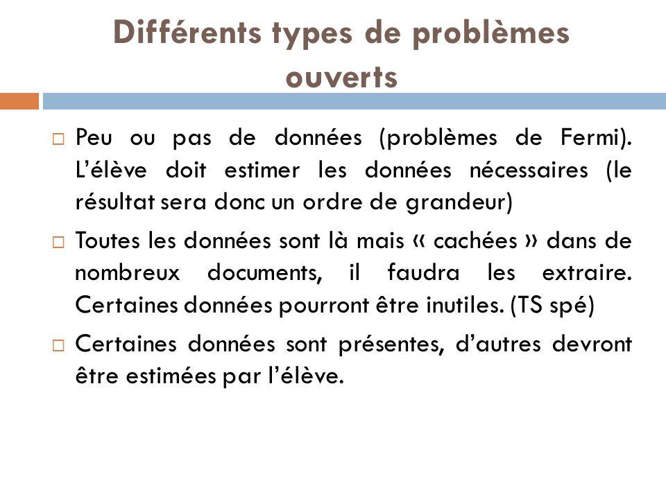 Différents types de problèmes ouverts