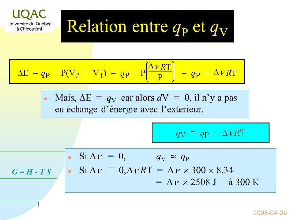 31/03/2017 Relation entre qP et qV. DE = q. P. - P(V. 2. V. 1. ) = è. ç. æ. ø. ÷ ö.