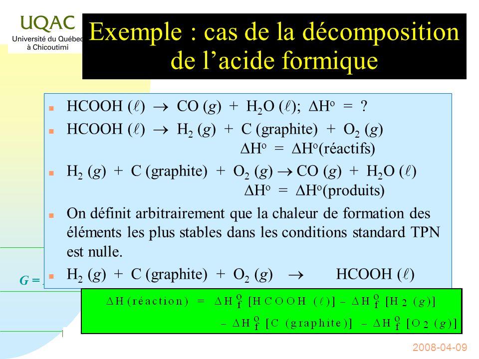 Exemple : cas de la décomposition de l'acide formique