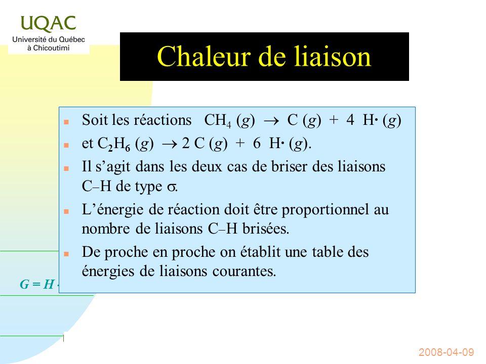 Chaleur de liaison Soit les réactions CH4 (g)  C (g) + 4 H· (g)