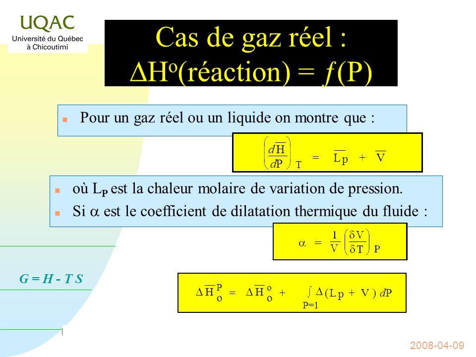 Cas de gaz réel : DHo(réaction) = ƒ(P)