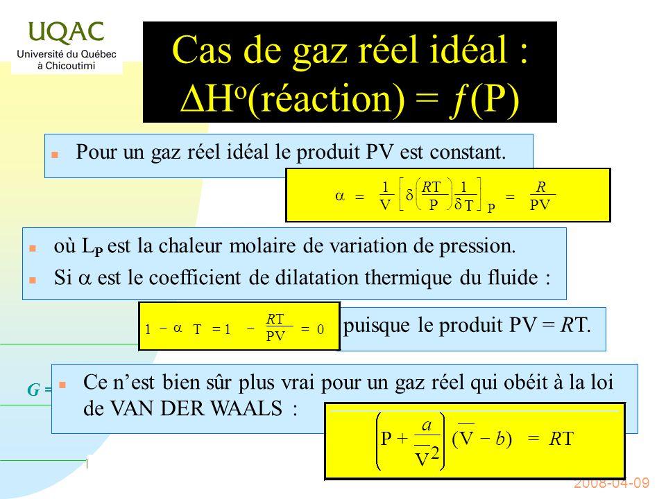 Cas de gaz réel idéal : DHo(réaction) = ƒ(P)