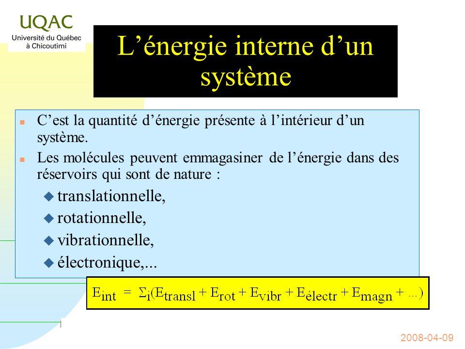 L'énergie interne d'un système