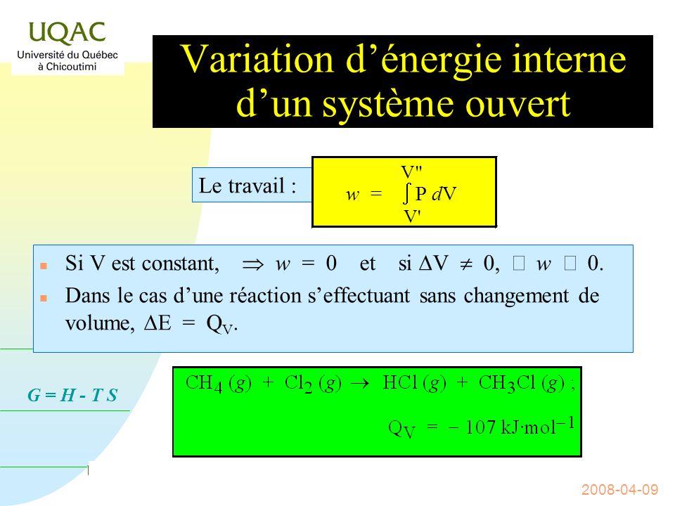 Variation d'énergie interne d'un système ouvert