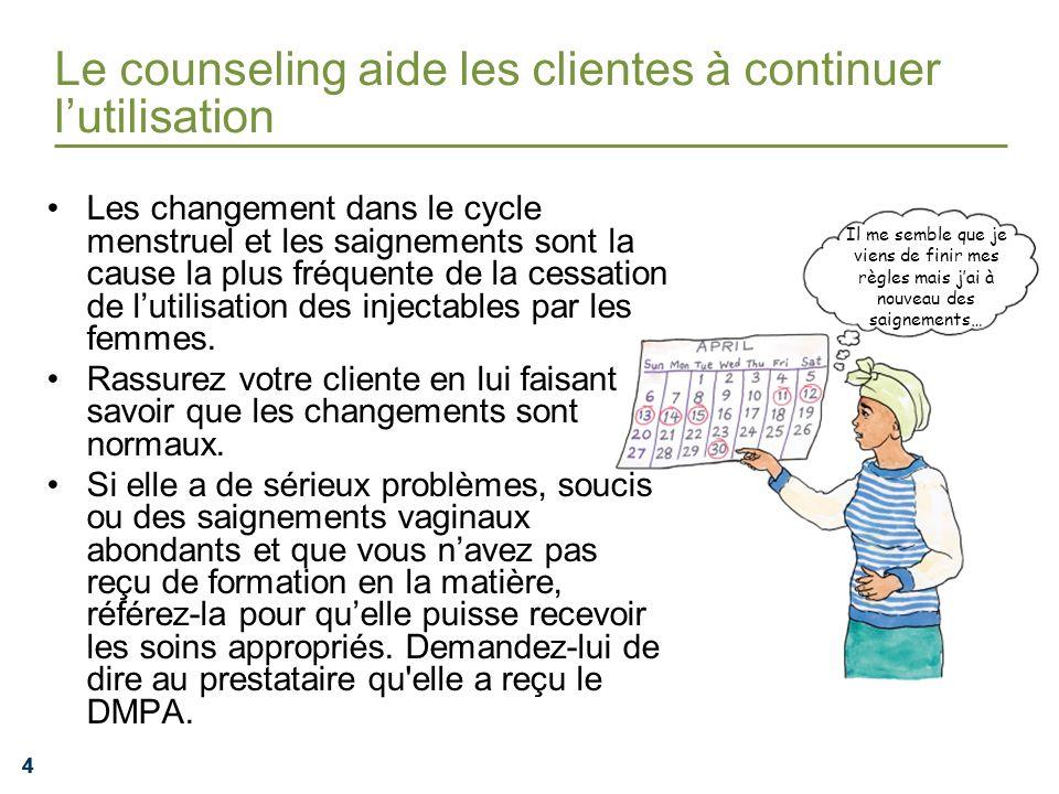 Le counseling aide les clientes à continuer l'utilisation