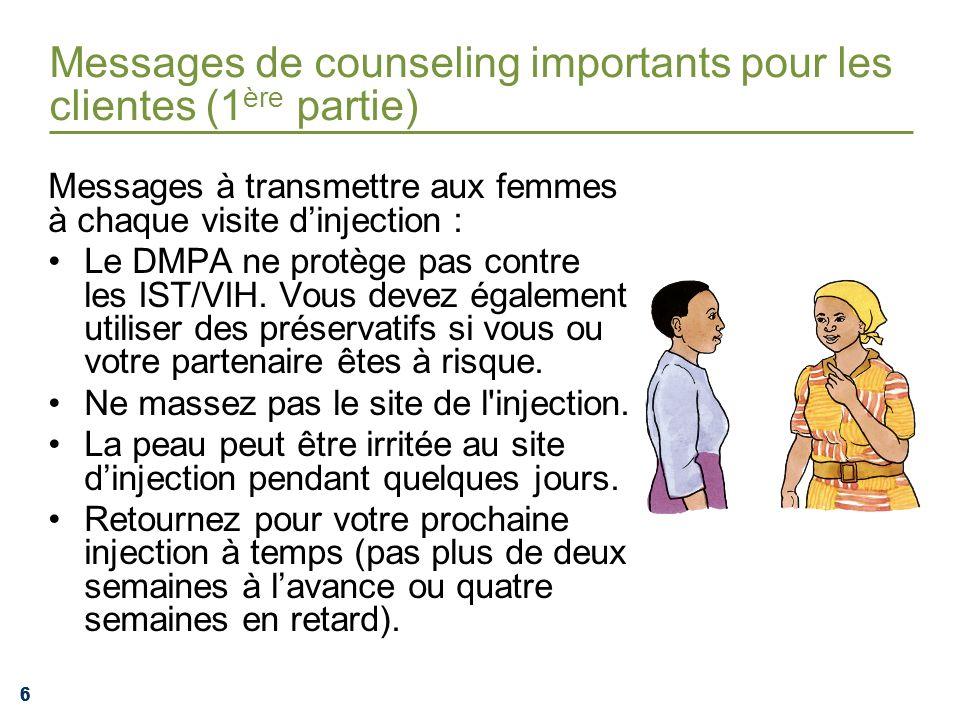 Messages de counseling importants pour les clientes (1ère partie)