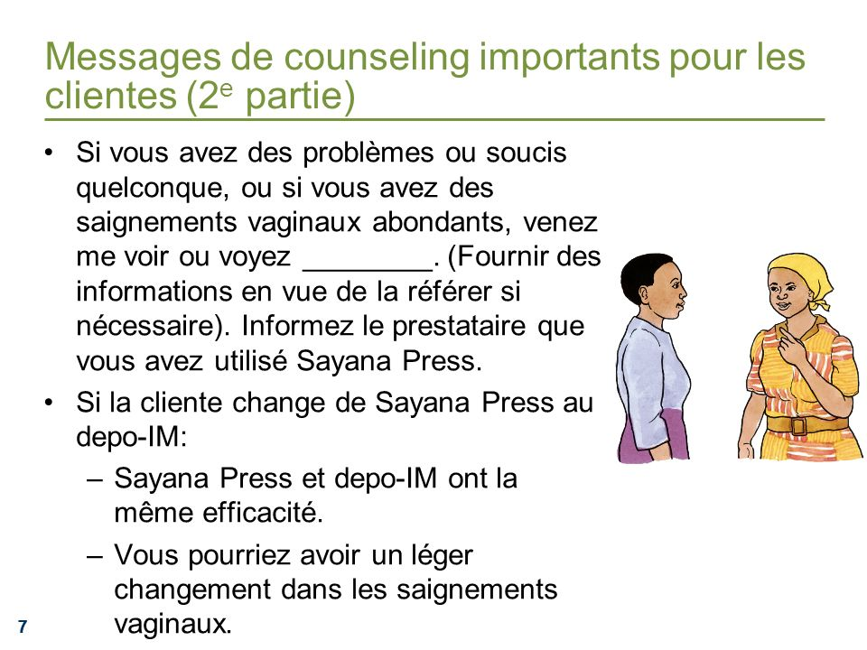 Messages de counseling importants pour les clientes (2e partie)