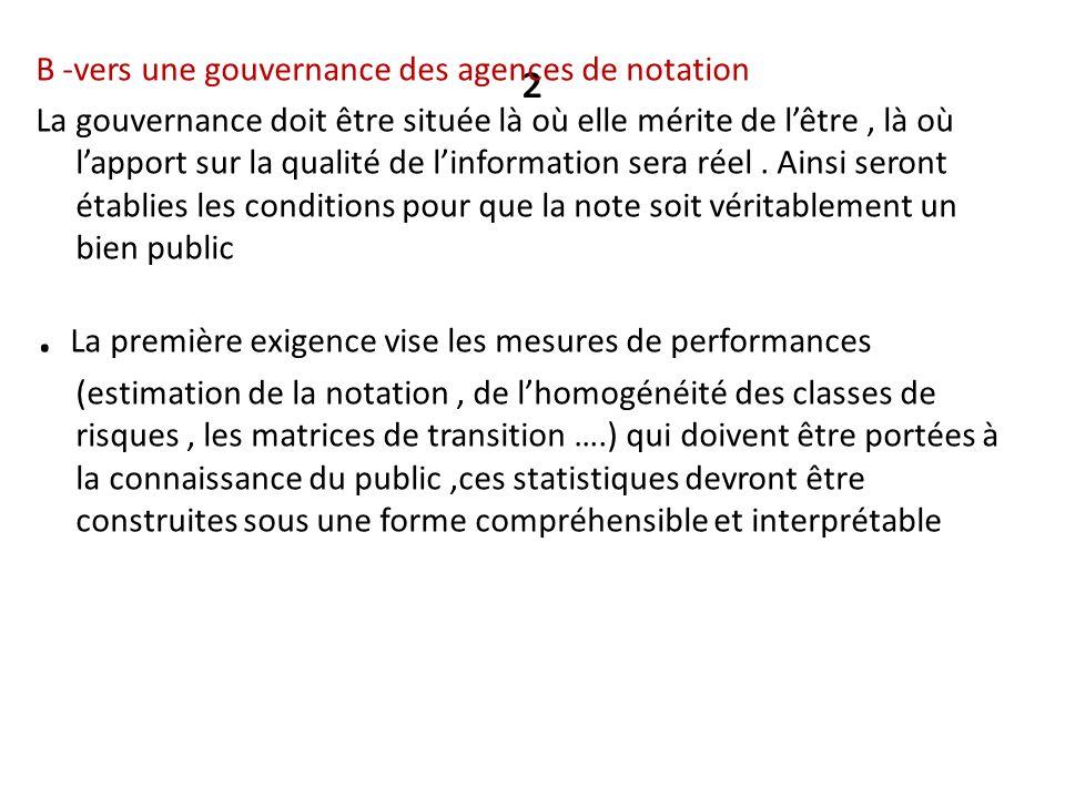 ² B -vers une gouvernance des agences de notation.