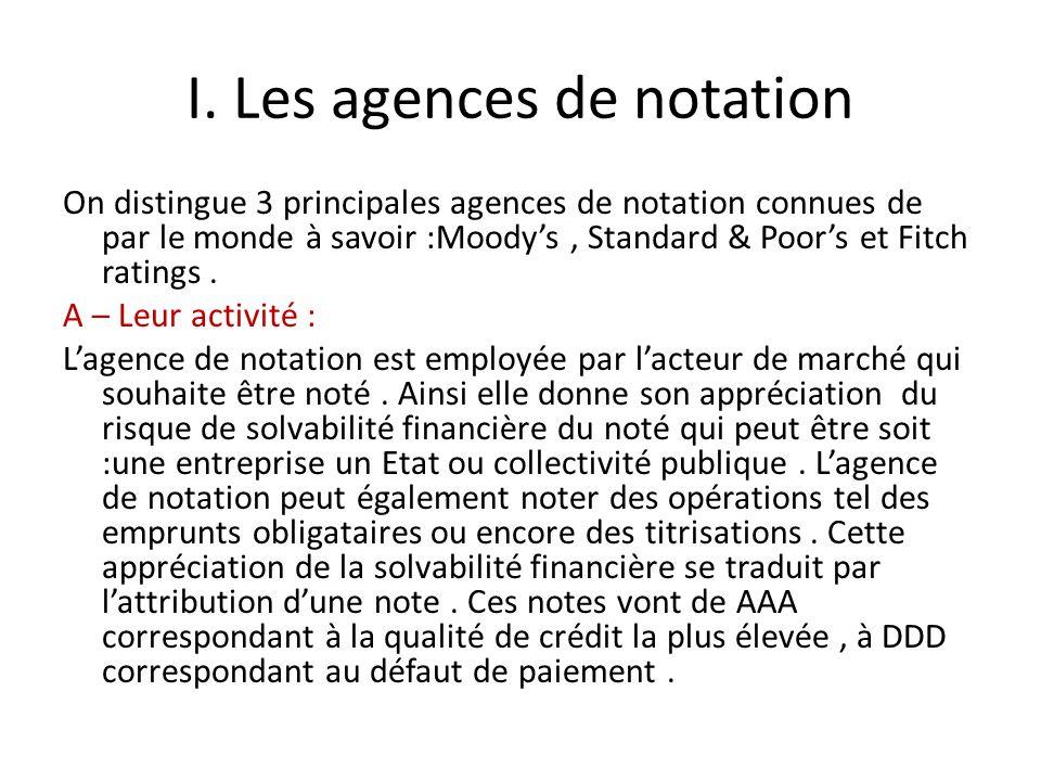 I. Les agences de notation