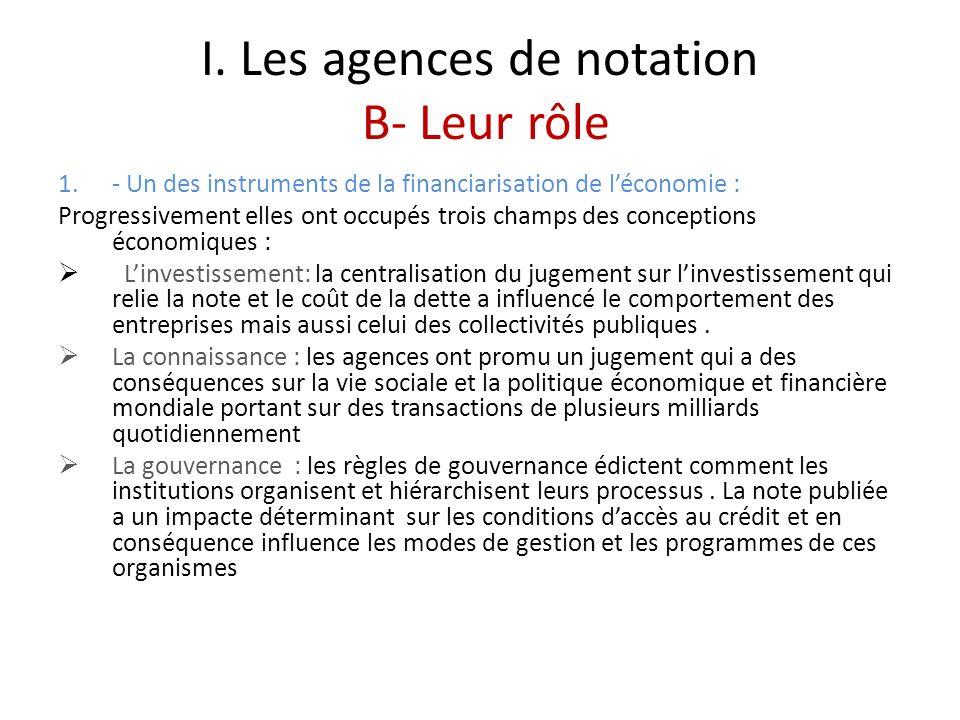 I. Les agences de notation B- Leur rôle