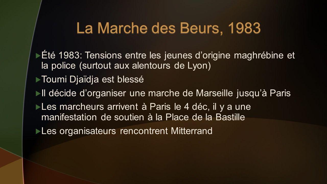 La Marche des Beurs, 1983 Été 1983: Tensions entre les jeunes d'origine maghrébine et la police (surtout aux alentours de Lyon)