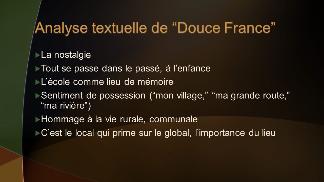 Analyse textuelle de Douce France