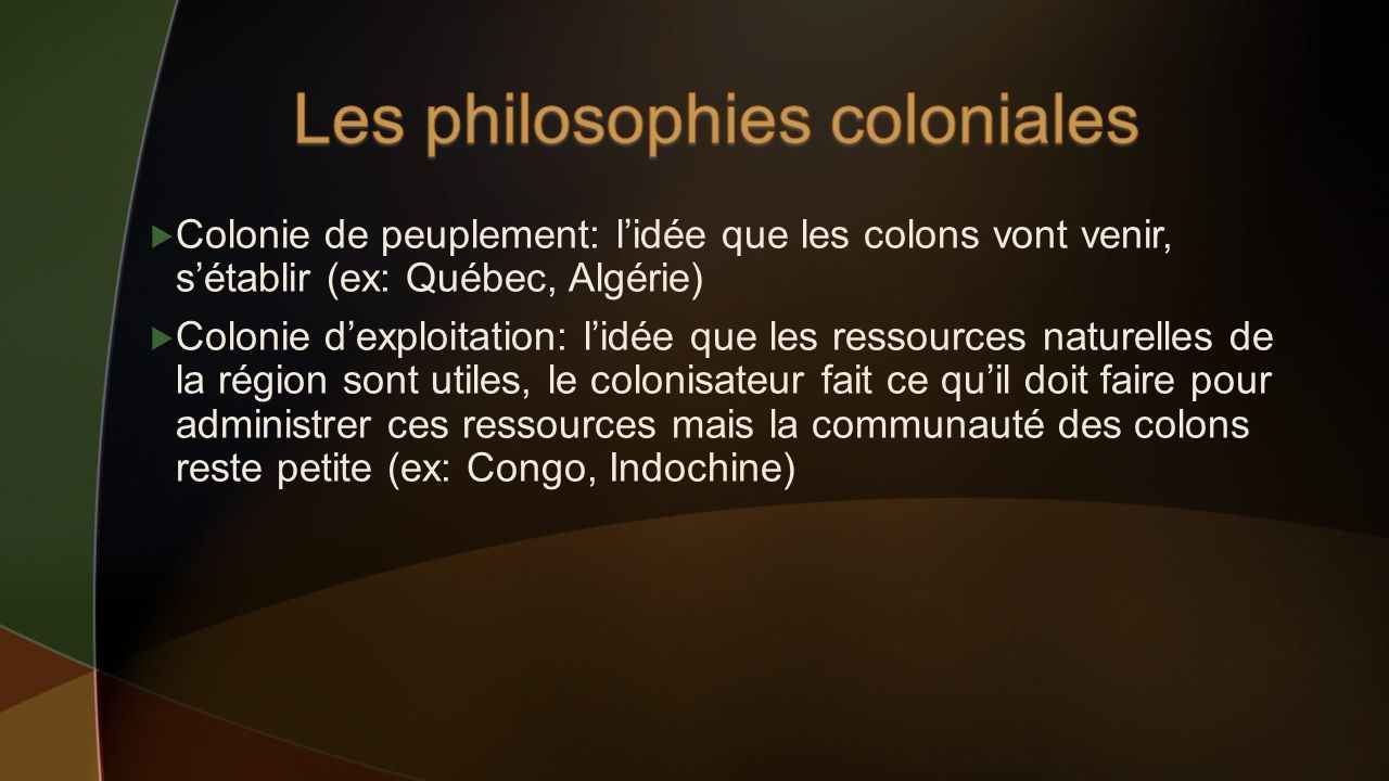 Les philosophies coloniales