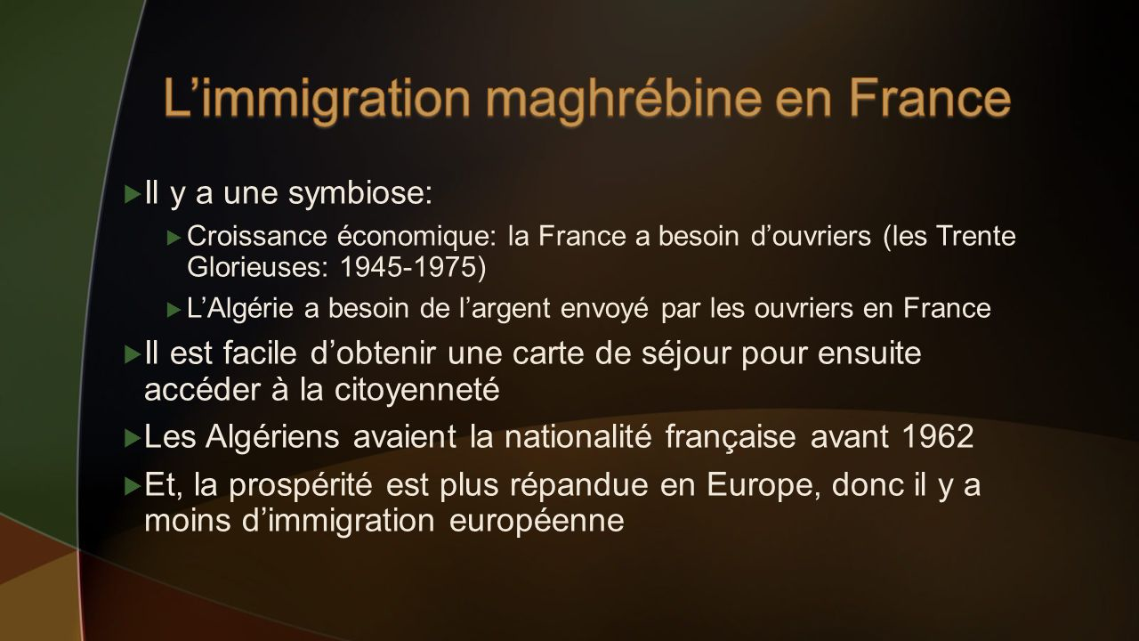 L'immigration maghrébine en France