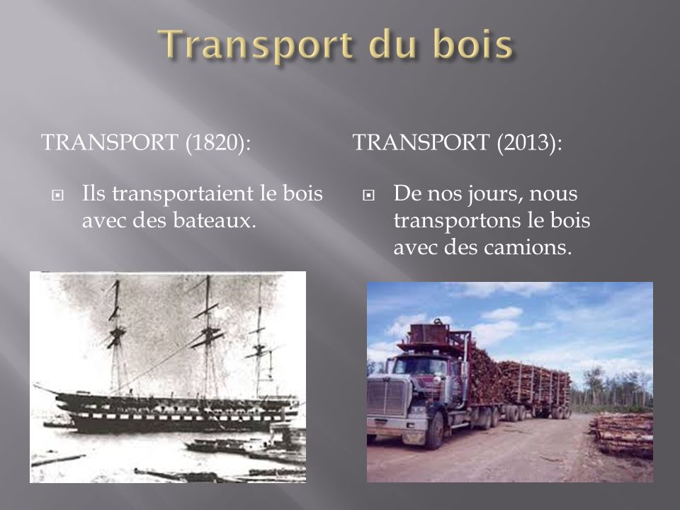 Transport du bois Transport (1820): Transport (2013):