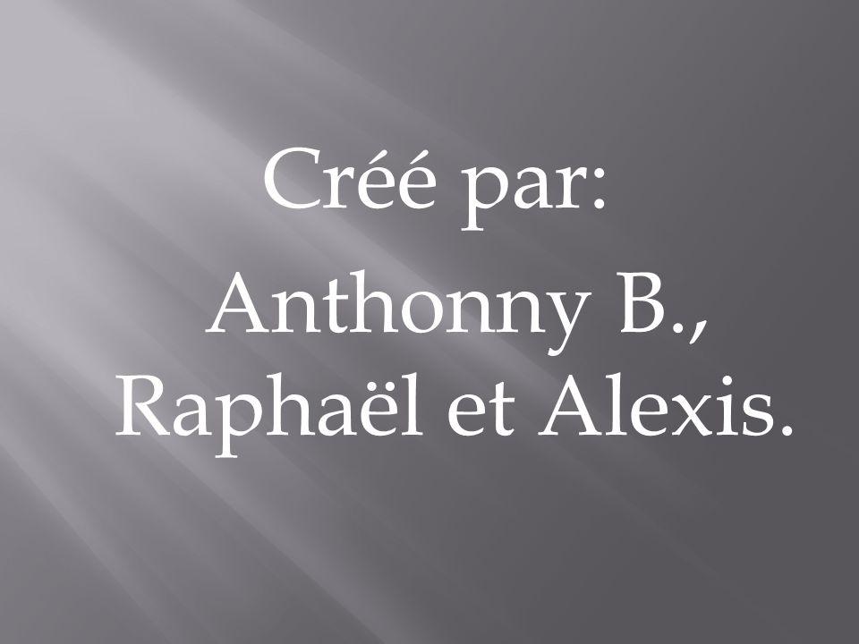 Créé par: Anthonny B., Raphaël et Alexis.