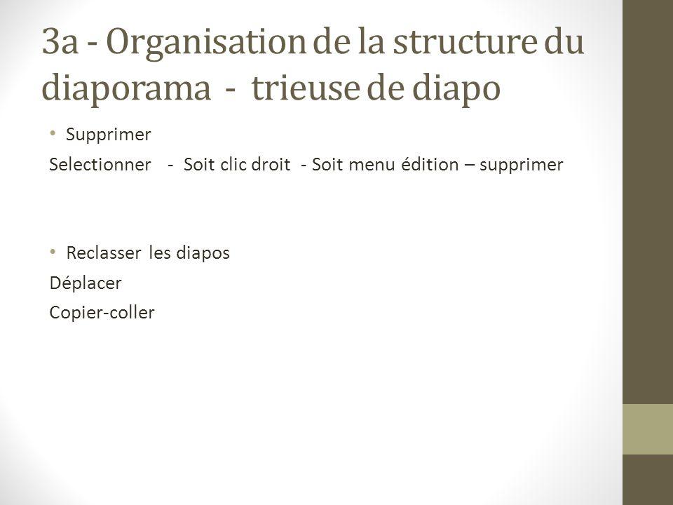 3a - Organisation de la structure du diaporama - trieuse de diapo