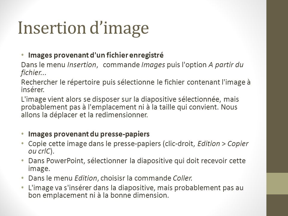 Insertion d'image Images provenant d un fichier enregistré