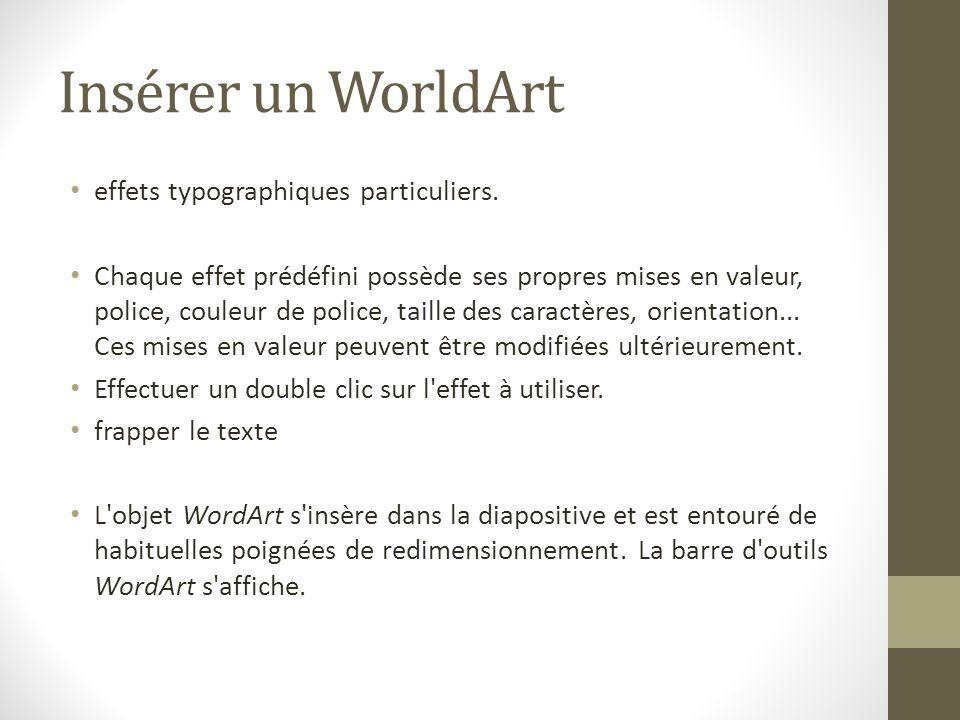 Insérer un WorldArt effets typographiques particuliers.